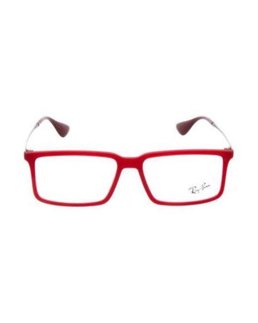 Lyst - Ray-Ban Matte Square Frame Eyeglasses Red in Metallic - Save ...