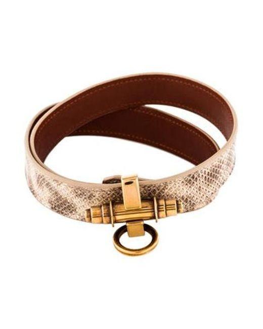 Givenchy - Metallic Obsedia Snakeskin Leather Double Wrap Bracelet Gold - Lyst