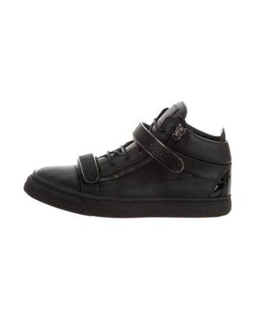 24275399cf2 Giuseppe Zanotti - Black Leather Embellished High-top Sneakers for Men -  Lyst ...