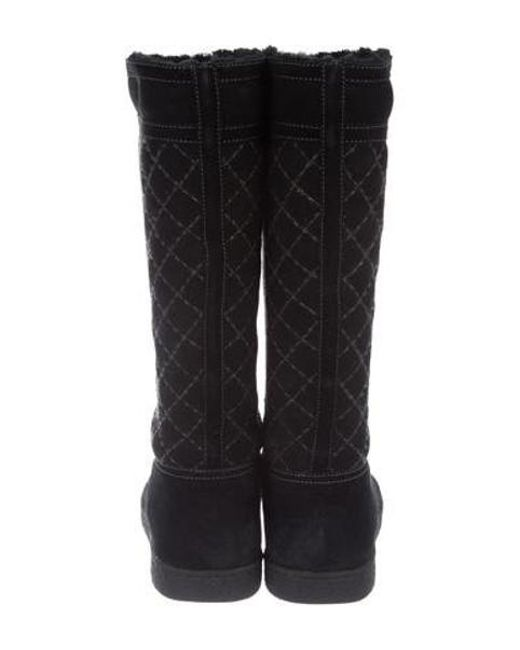 Lyst Chanel Suede Quilted Boots In Black