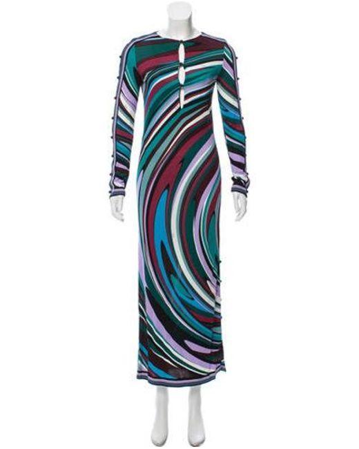 4f1f879d450d4 Emilio Pucci - Blue Floral Print Maxi Dress W/ Tags Multicolor - Lyst ...