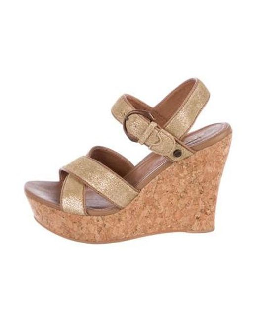 e02d501c557b Ugg - Metallic Suede Peep-toe Wedge Sandals Gold - Lyst ...