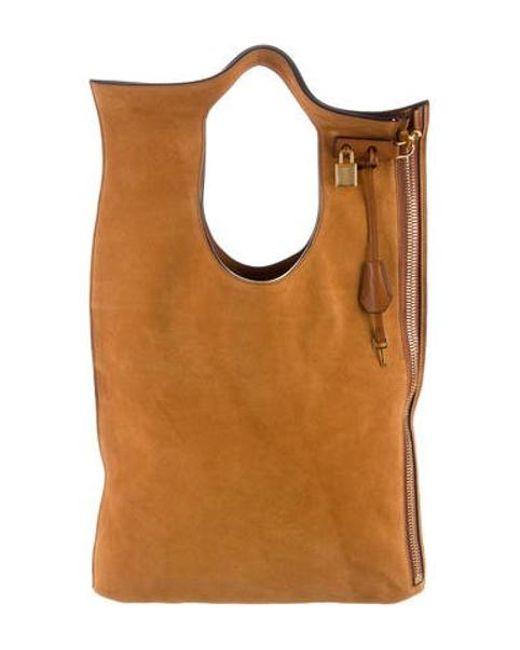 a71dc134821b1 Tom Ford - Metallic Alix Fold-over Bag Cognac - Lyst ...