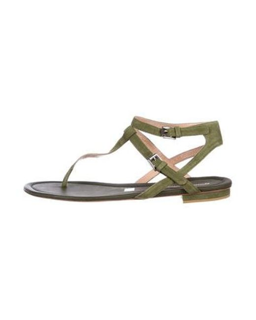 8cd2a7f0cf8e80 Gianvito Rossi - Green Suede Thong Sandals Olive - Lyst ...