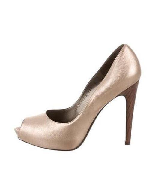 e0ba0efdca7 Ferragamo - Metallic Peep-toe Pumps - Lyst ...