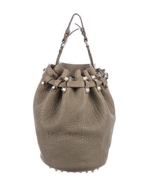 53f04e81a9ce85 Alexander Wang - Metallic Diego Leather Bucket Bag Olive - Lyst ...