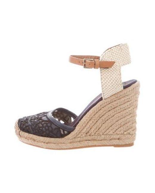 0d1d15eb1 Tory Burch - Black Lace Canvas Wedge Sandals - Lyst ...