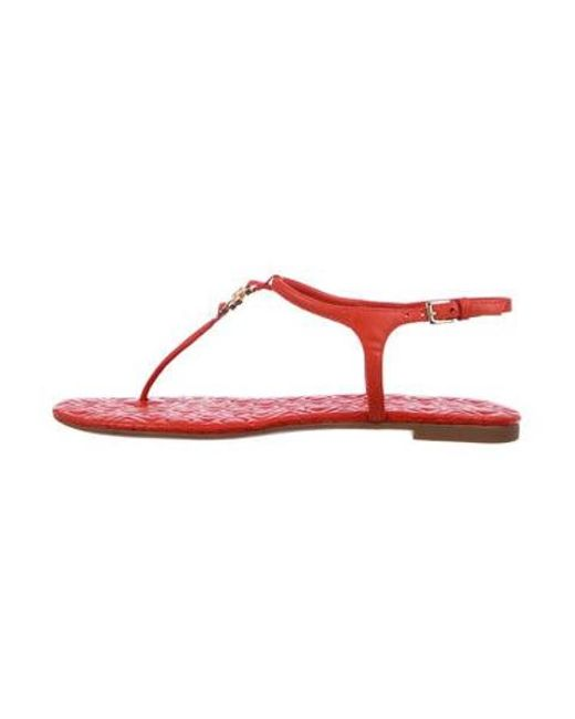 9f5e3925554c97 Tory Burch - Multicolor Leather Logo Sandals Orange - Lyst ...
