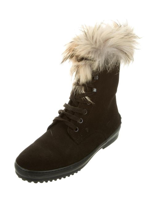 Tod's Round-Toe Fur-Trimmed Boots clearance footlocker HNqD9nhu