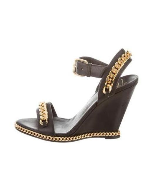 8579a85e2f4 Giuseppe Zanotti - Metallic Chain-link Leather Wedges Black - Lyst ...