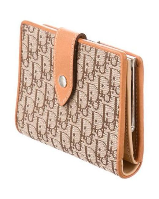 e42cf547c9d ... Dior - Metallic Leather-trimmed Diorissimo Wallet Beige - Lyst ...