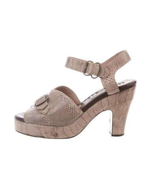 Rochas - Metallic Snakeskin Platform Sandals Gold - Lyst ...