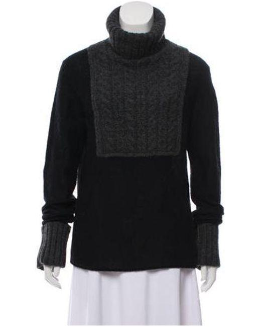 fabeea00af71 Tory Burch - Gray Knit Turtleneck Sweater Black - Lyst ...