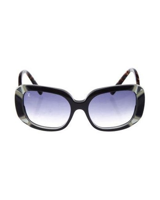 a664fdc4d74a Louis Vuitton - Metallic Anemone Square Sunglasses Blue - Lyst ...