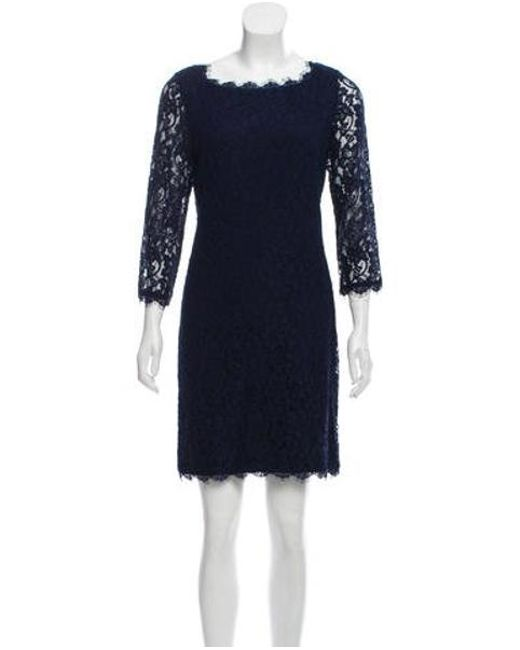 d850fc3521049 Lyst - Diane Von Furstenberg Long Sleeve Lace Dress in Blue - Save ...