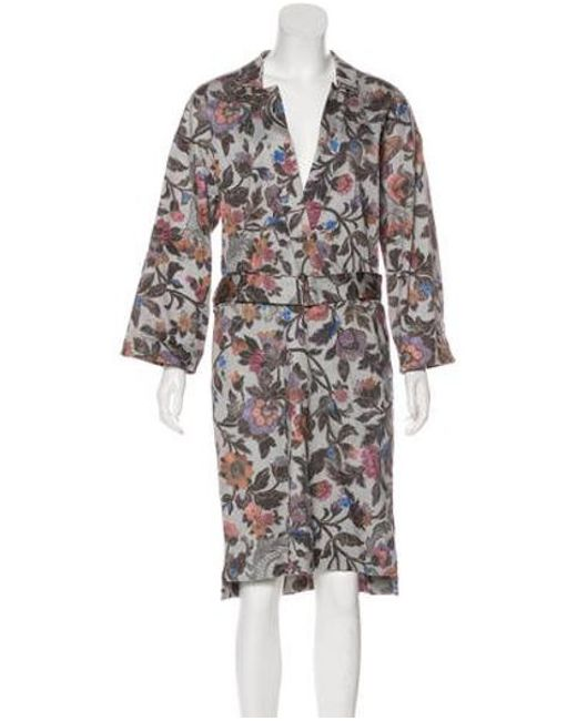 13bd13dc Dries Van Noten - Gray Belted Floral Dress Grey - Lyst ...