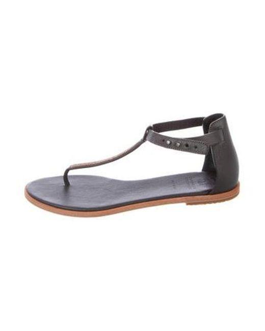 99633f0e751 Brunello Cucinelli - Black Leather Monili-accented Sandals - Lyst ...