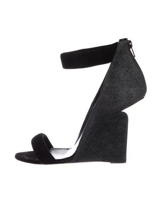 d628c1ef2ffbe8 Pierre Hardy - Black Suede Wedge Sandals - Lyst ...