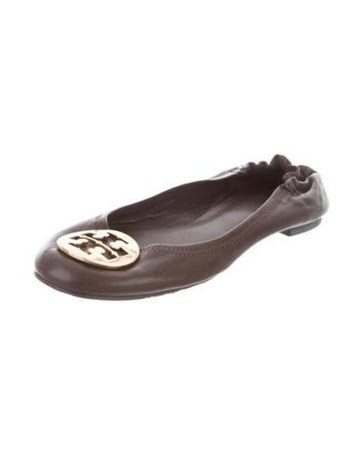 a0afaaf88c880 ... Tory Burch - Metallic Leather Ballet Flats Brown - Lyst ...