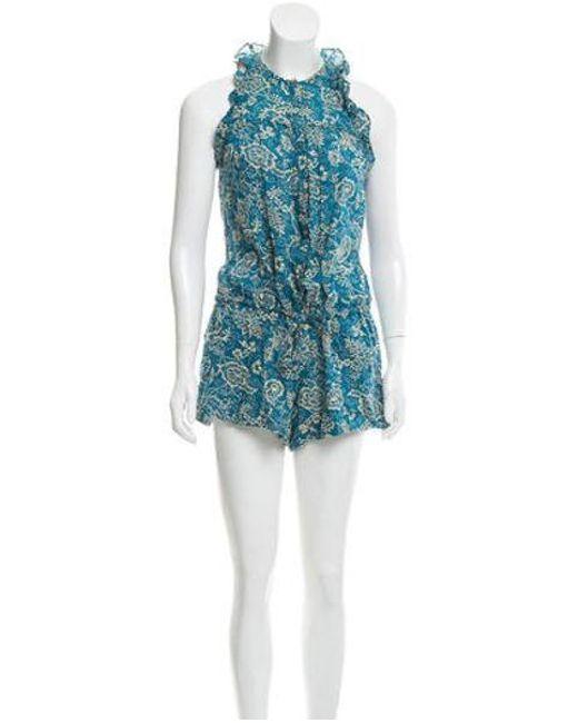 4eba8a7222 Étoile Isabel Marant - Blue Printed Ruffle-accented Romper - Lyst ...