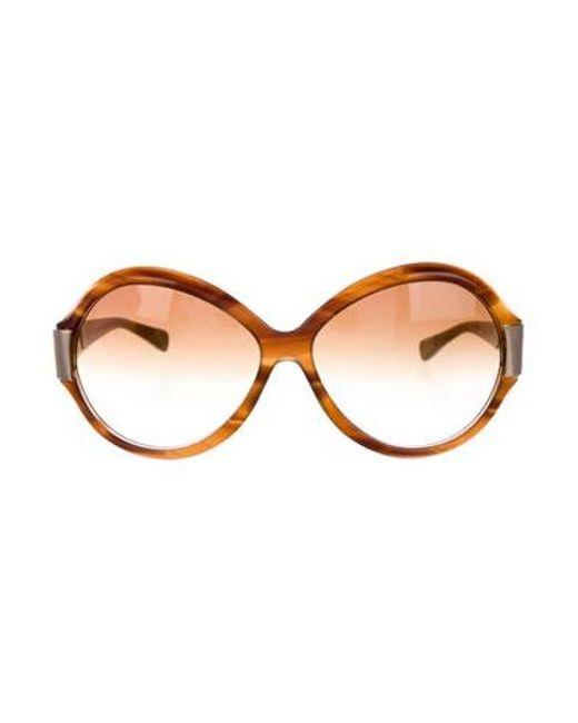 9c03e178b6cc Oliver Peoples - Metallic Oversize Gradient Sunglasses Brown - Lyst ...