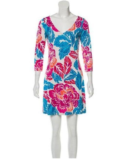 1e82288c865f7 Diane von Furstenberg - Blue Silk Mini Dress Multicolor - Lyst ...