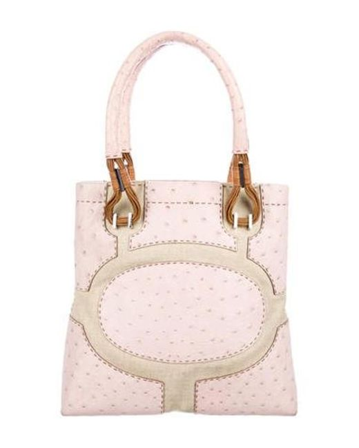 1b809eb1ff31 VBH - Metallic Canvas-trimmed Ostrich Shoulder Bag Pink - Lyst ...