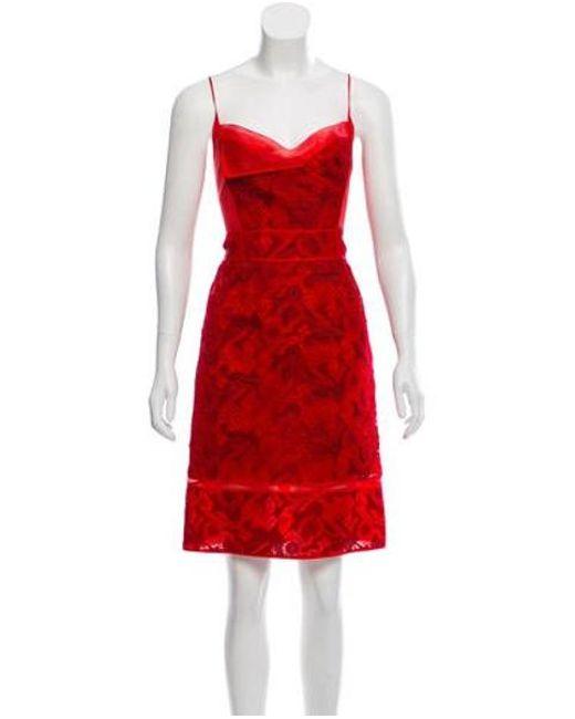 e0027af0950 Zac Posen - Red Sleeveless Knee-length Dress - Lyst ...
