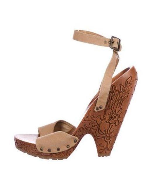 93a034ca283 Stella McCartney - Natural Canvas Wooden Sandals Tan - Lyst ...
