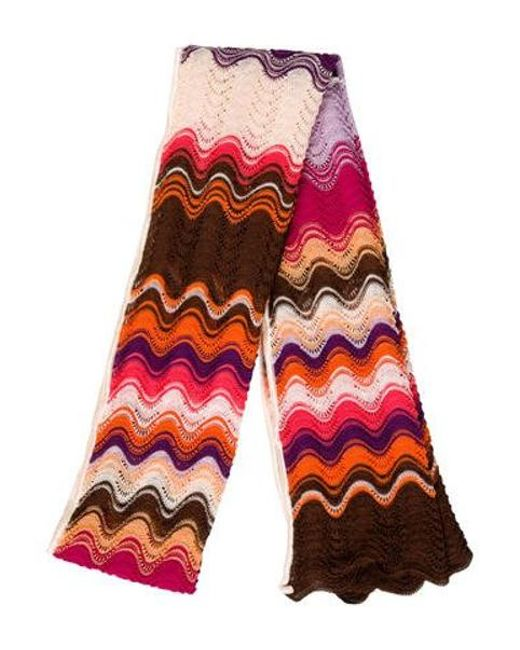 Lyst Missoni Multicolor Scalloped Scarf Magenta In Pink