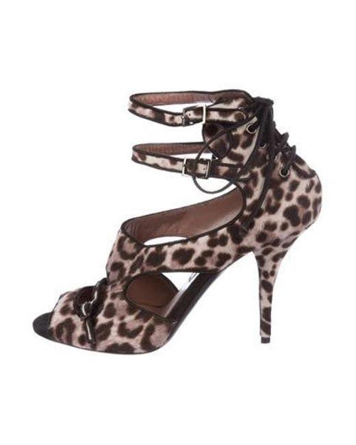 Tabitha Simmons - Brown Ponyhair Cutout Sandals - Lyst