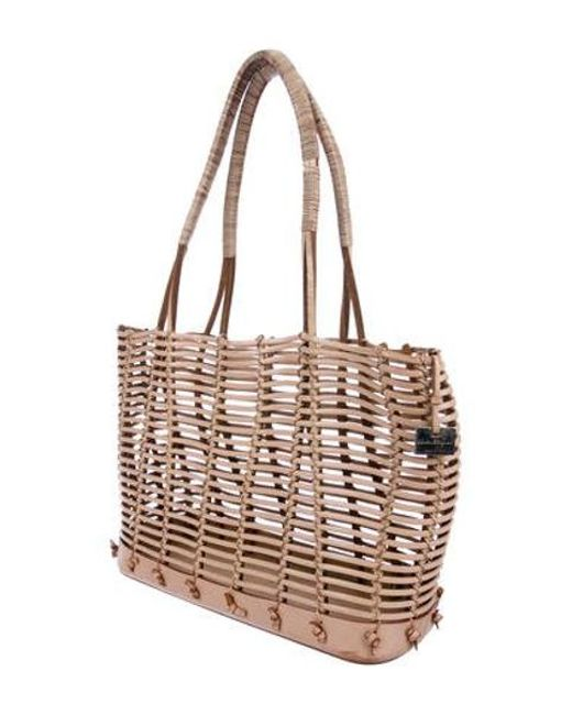 ... Ferragamo - Metallic Caged Leather Tote Tan - Lyst ... 29c45b9a8438d