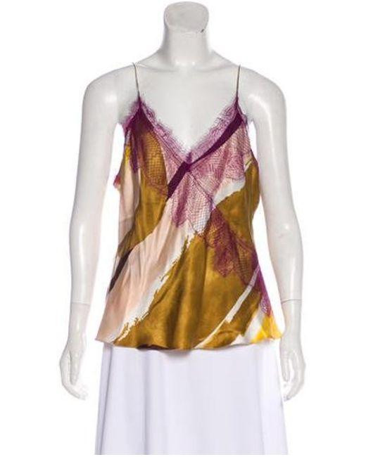 22f80753d4 Christian Lacroix - Brown Silk Sleeveless Top - Lyst ...