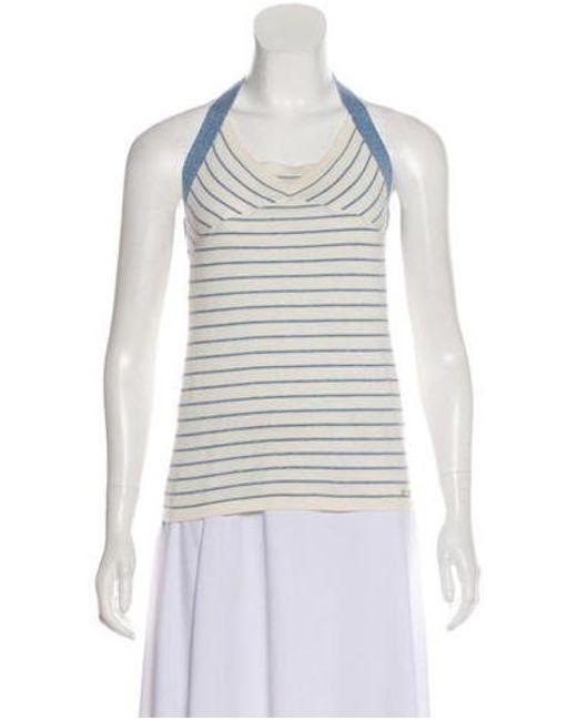 ffd9e3f4865 Chanel - White Striped Halter Top - Lyst ...