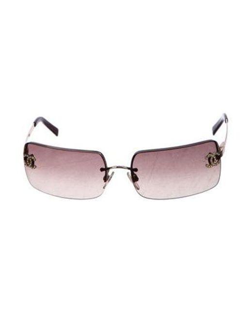 f692141d2ea4 Chanel - Metallic Strass Cc Sunglasses Gold - Lyst ...
