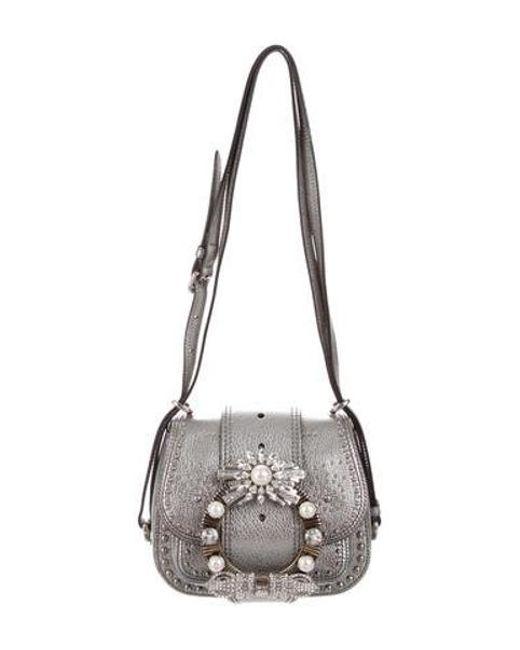 46e925c34748 Miu Miu - Metallic Miu Jeweled Dahlia Saddle Bag - Lyst ...