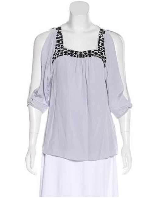 55b3a08a259c6 Tibi - Gray Embellished Silk Cold Shoulder Top Blue - Lyst ...