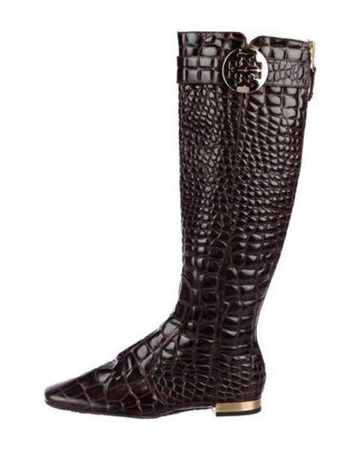 ab2970f5bdc Tory Burch - Brown Embossed Knee-high Boots - Lyst ...