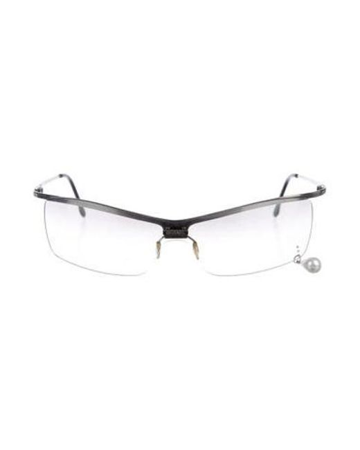 cea1f237023c Chanel - Metallic Embellished Shield Sunglasses Silver - Lyst ...