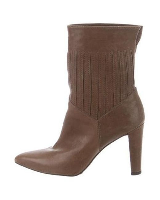 e23df836a1fe Stuart Weitzman - Brown Leather Pointed-toe Ankle Boots - Lyst ...