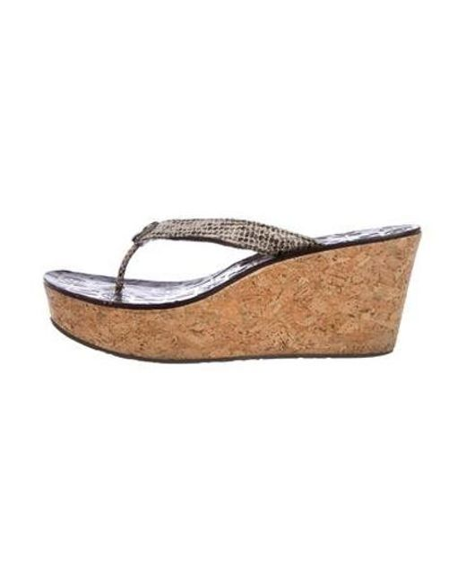 e93cac30ef8a Tory Burch - Gray Embossed Leather Wedges Grey - Lyst ...