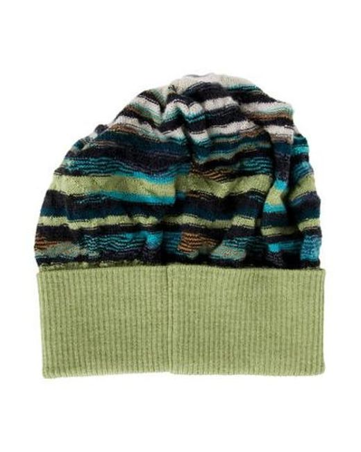d742d595cb9 ... Missoni - Green Knit Abstract Pattern Beanie Lime - Lyst ...