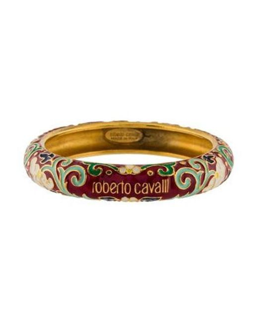 Roberto Cavalli - Metallic Floral Enamel Bangle Gold - Lyst