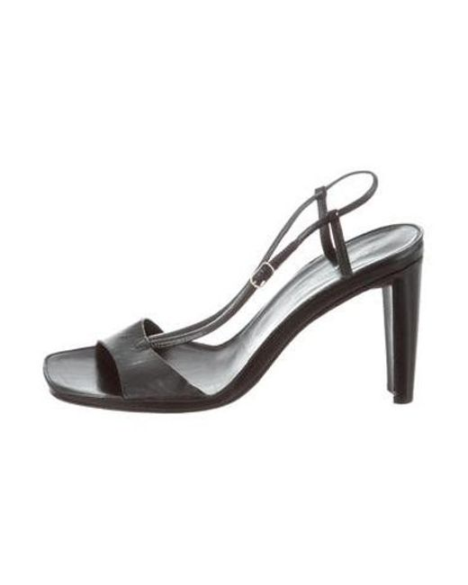 6f39a13e1cea9 CoSTUME NATIONAL - Black Ankle Strap Leather Sandals - Lyst ...