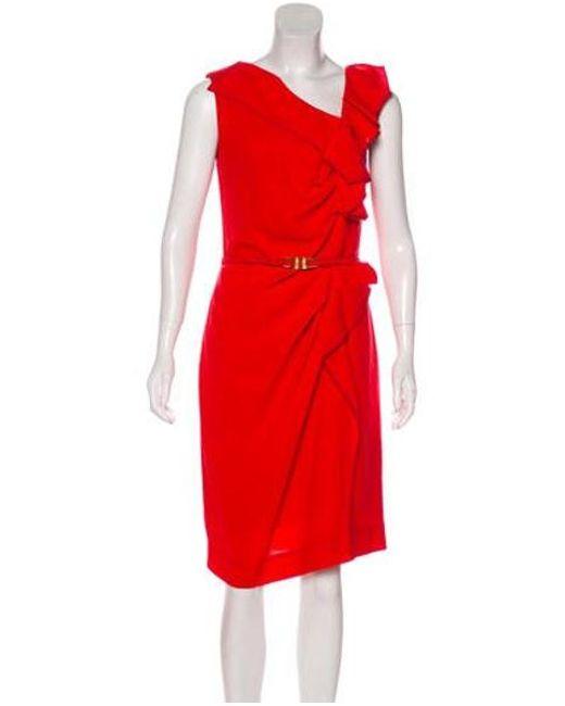 e5462852a5c Carolina Herrera - Red Virgin Wool Ruffle-trimmed Dress - Lyst ...