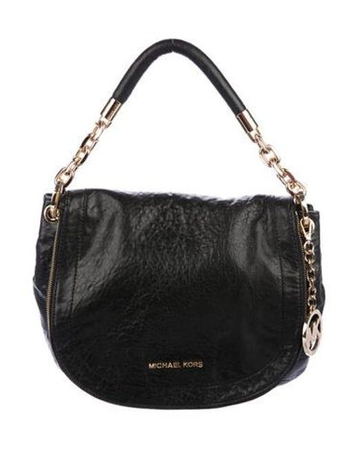 a09ba27bf992 MICHAEL Michael Kors - Metallic Michael Kors Leather Crossbody Bag Black -  Lyst ...