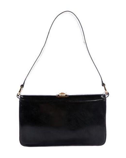 Ferragamo - Metallic Patent Leather Gancio Shoulder Bag Black - Lyst ... 3a64ac2f14103