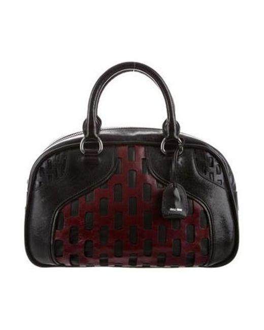 3f7210d5928 Miu Miu - Metallic Miu Bicolor Leather Bowler Bag Black - Lyst ...