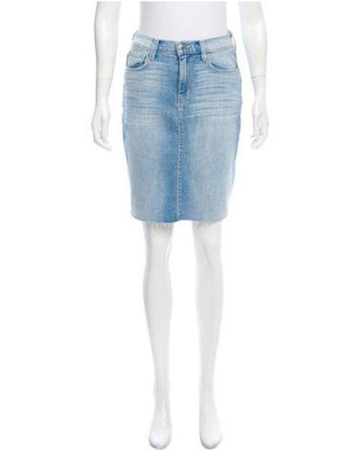 L'Agence - Blue Distressed Denim Skirt W/ Tags - Lyst