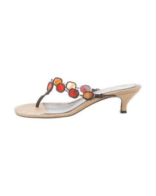 753f30304d95 Louis Vuitton - Brown Embellished Thong Sandals - Lyst ...